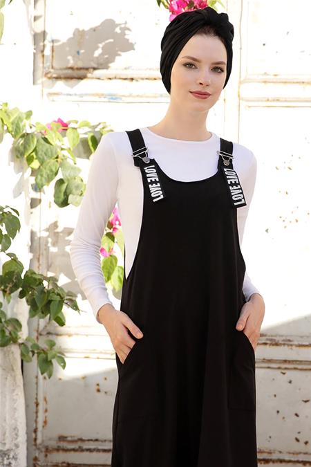 Selma Sarı Design Siyah Salopet Elbise