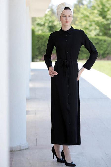 Selma Sarı Design Siyah Spor Elbise