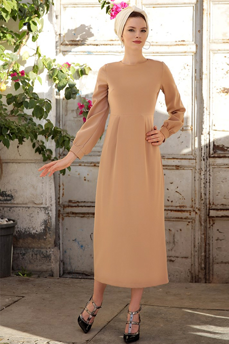 Selma Sarı Design Somon Hürrem Elbise