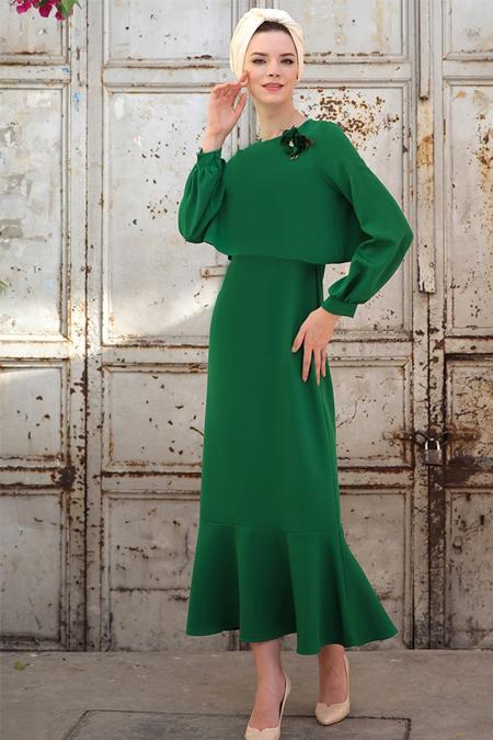 Selma Sarı Design Yeşil Viole Elbise