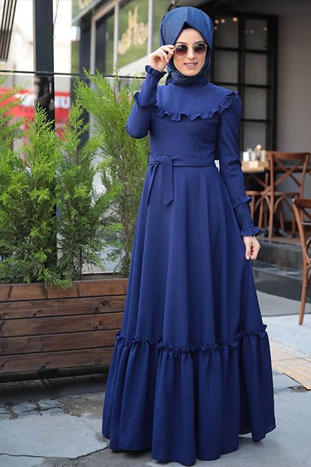 Zehrace İndigo Emma Fırfırlı Elbise