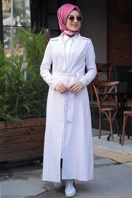 Zehrace Fuşya Beyaz Çizgili Ceket