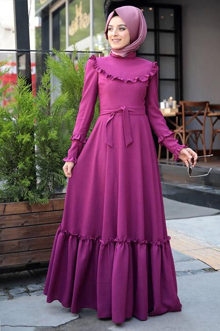 Zehrace Fuşya Emma Fırfırlı Elbise