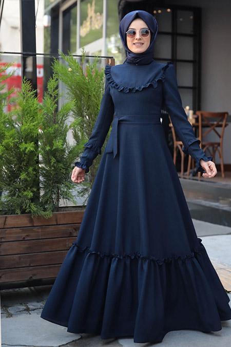 Zehrace Lacivert Emma Fırfırlı Elbise