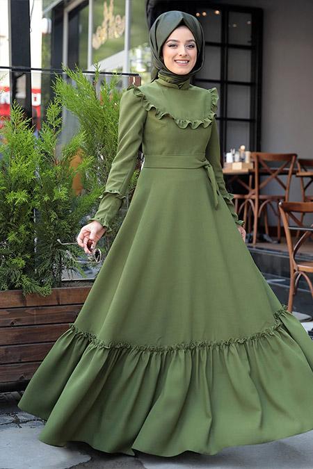 Zehrace Yeşil Emma Fırfırlı Elbise