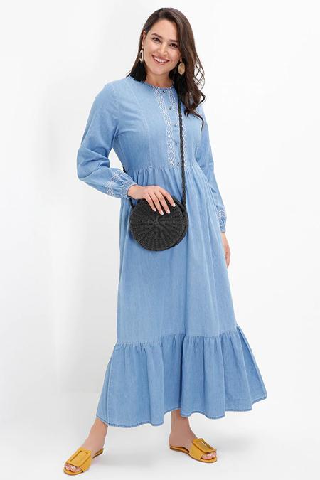 Alia Açık Mavi Nakış Detaylı Volanlı Kot Elbise
