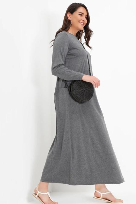Alia Antrasit Doğal Kumaşlı Cep Detaylı Elbise