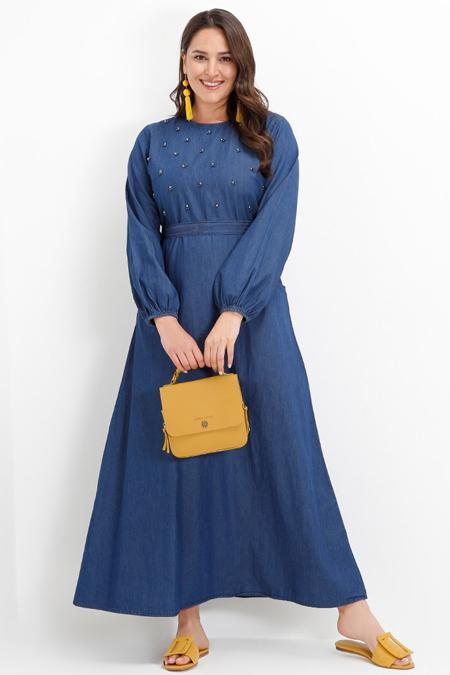Alia Koyu Mavi İncili Cep Detaylı Kot Elbise