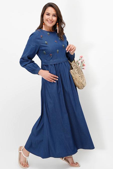 Alia Koyu Mavi Nakış Detaylı Kot Elbise