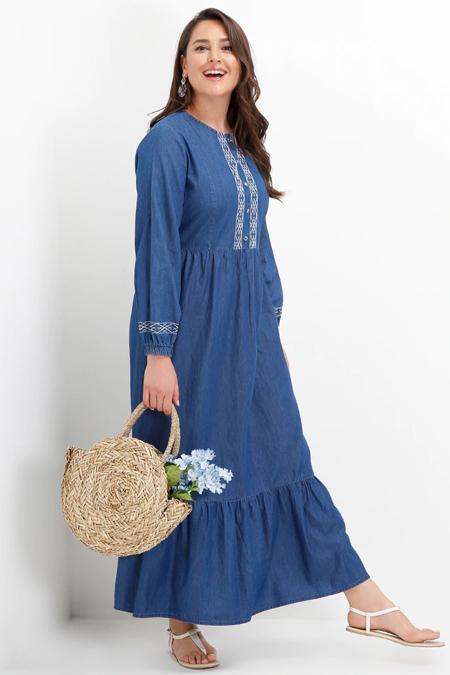 Alia Koyu Mavi Nakış Detaylı Volanlı Kot Elbise