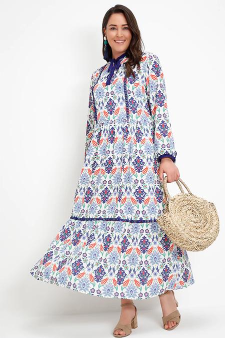Alia Mavi Çini Desenli Elbise