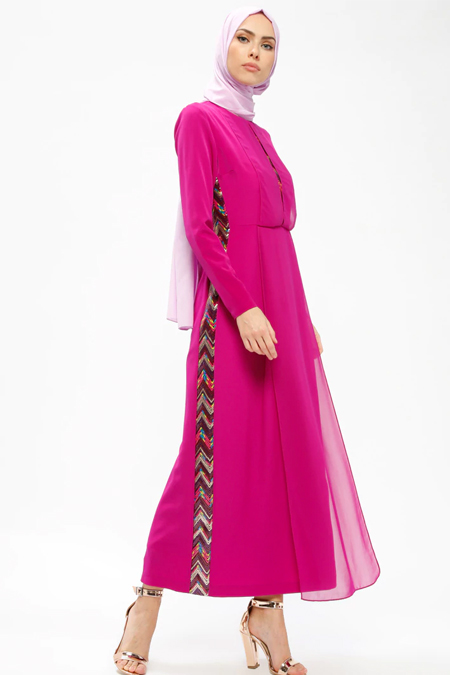 Armine Fuşya Payet Detaylı Elbise