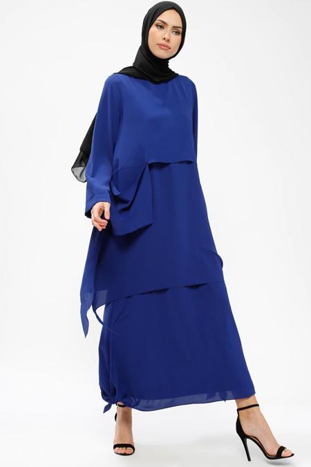 Armine Saks Cep Detaylı Elbise