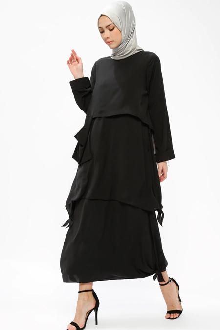 Armine Siyah Cep Detaylı Elbise
