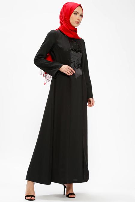 Armine Siyah Payetli Elbise