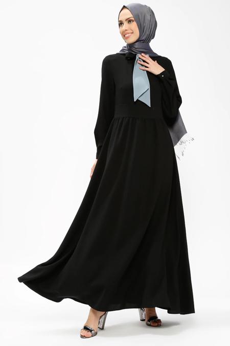 Armine Siyah Yakası Fular Detaylı Elbise