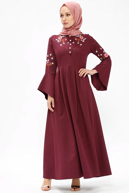 BÜRÜN Bordo Nakışlı Elbise