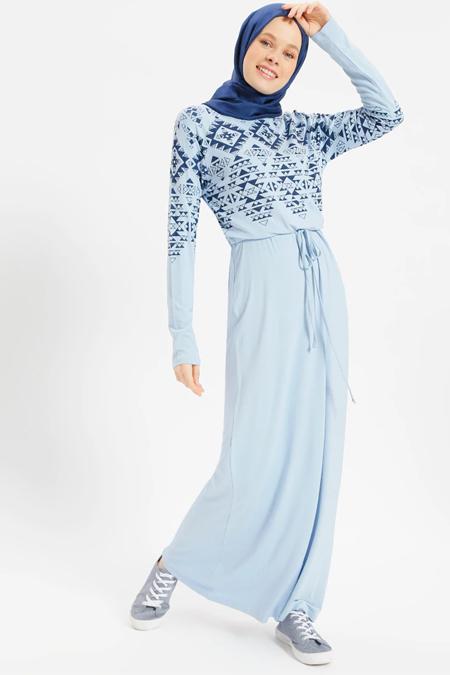 Benin Açık Mavi Doğal Kumaşlı Baskılı Elbise