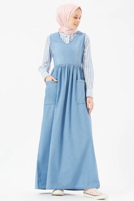 Benin Açık Mavi Doğal Kumaşlı Kolsuz Kot Elbise