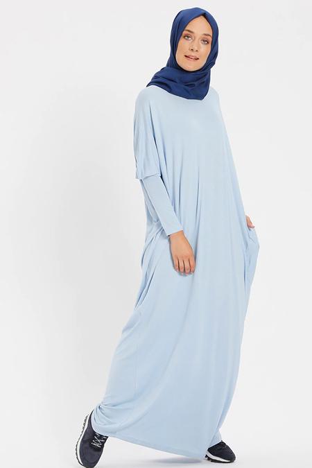 Benin Açık Mavi Doğal Kumaşlı Salaş Elbise