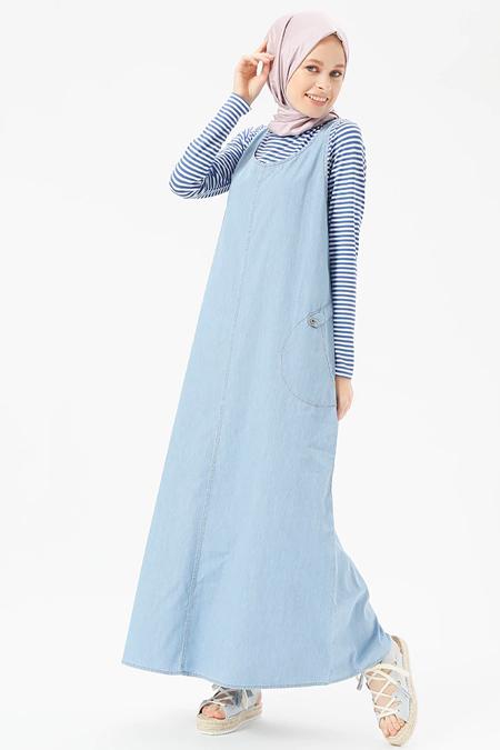 Benin Buz Mavisi Doğal Kumaşlı Kolsuz Kot Elbise