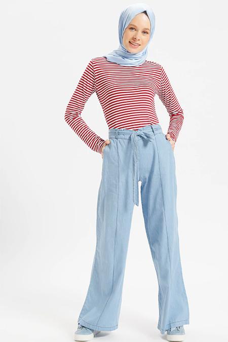 Benin Buz Mavisi Doğal Kumaşlı Kot Pantolon