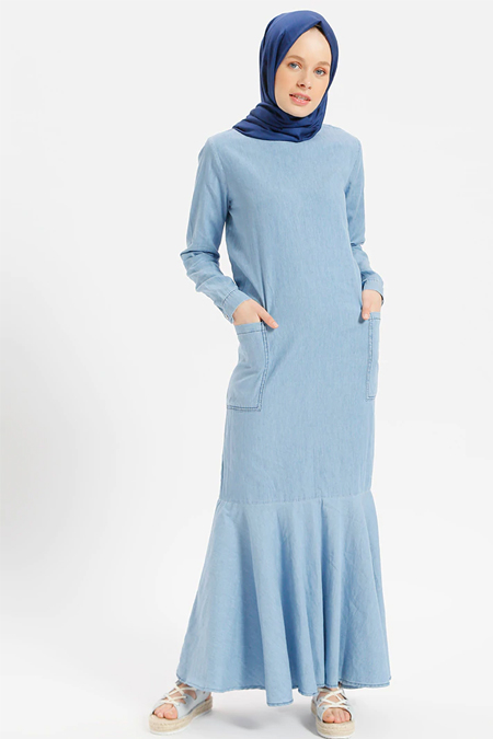 Benin Buz Mavisi Doğal Kumaşlı Volanlı Kot Elbise