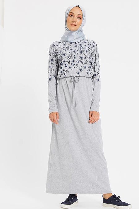 Benin Gri Doğal Kumaşlı Baskılı Elbise