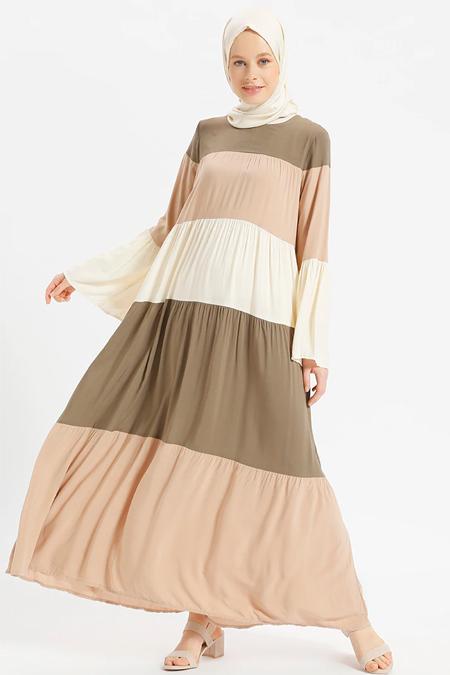 Benin Haki Doğal Kumaşlı Garnili Elbise
