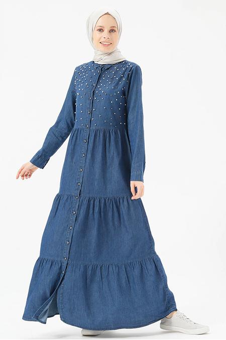 Benin Koyu Mavi Doğal Kumaşlı Düğmeli Kot Elbise