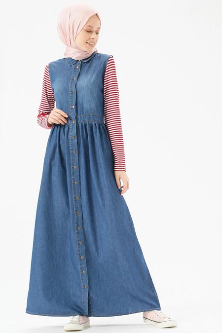 Benin Koyu Mavi Doğal Kumaşlı Kolsuz Kot Elbise