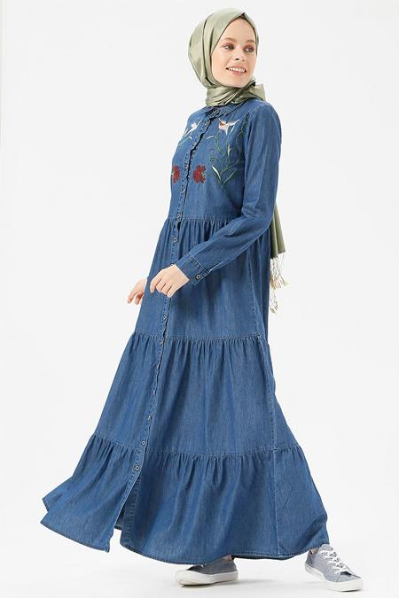Benin Koyu Mavi Doğal Kumaşlı Nakışlı Kot Elbise