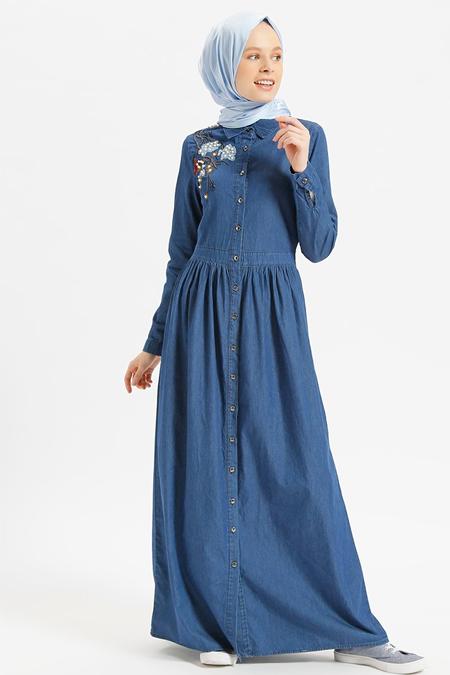Benin Lacivert Doğal Kumaşlı İncili Nakışlı Kot Elbise