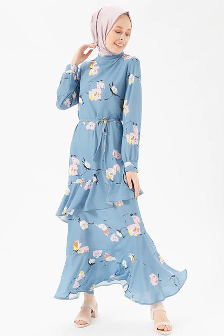 Benin Mavi Floral Desenli Volanlı Elbise