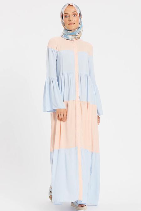 Benin Pudra Mavi Doğal Kumaşlı Garnili Elbise