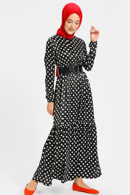 Benin Siyah Beli Lastikli Puantiyeli Elbise
