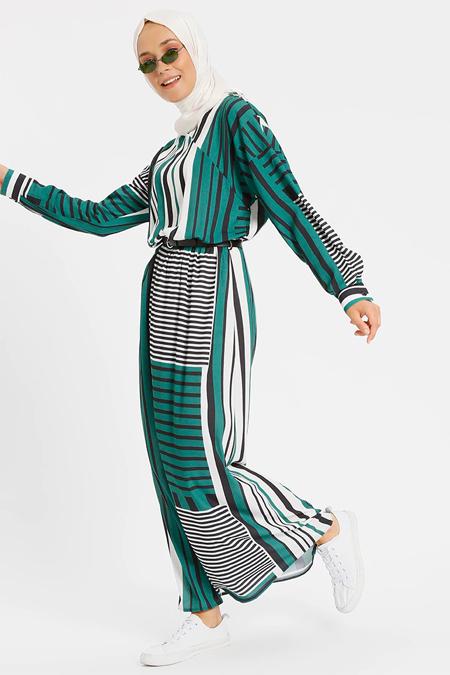 Benin Yeşil Deri Kemerli Elbise