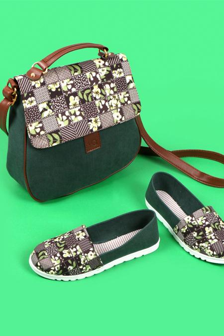 Çiçek Kare Desenli Haki Yeşil Çapraz Çanta ve Ayakkabı Set