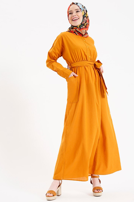 Benin Turuncu Doğal Kumaşlı Beli Lastikli Elbise