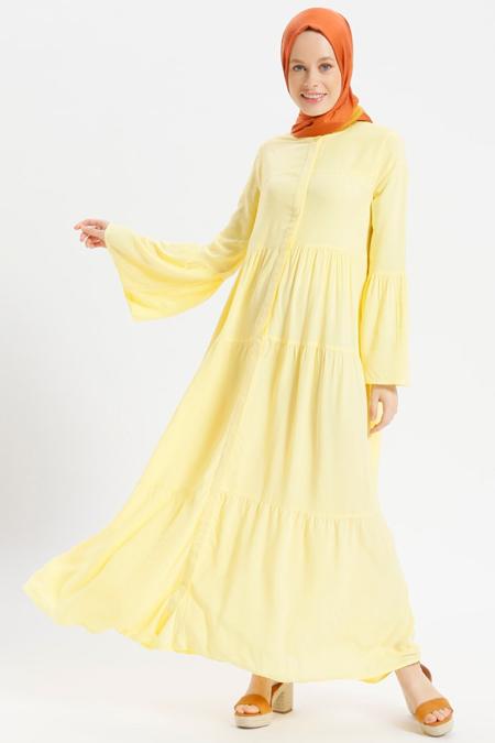 Benin Sarı Doğal Kumaşlı Boydan Gizli Düğmeli Elbise