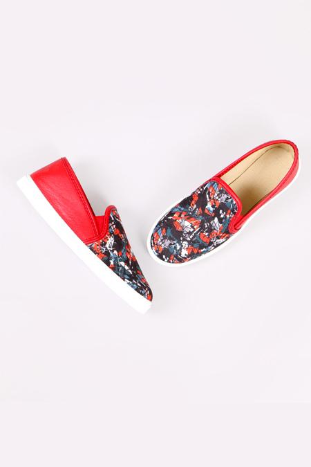 Enbimoda Kırmızı Renkli Kırık Cam Desenli Sneaker Ayakkabı