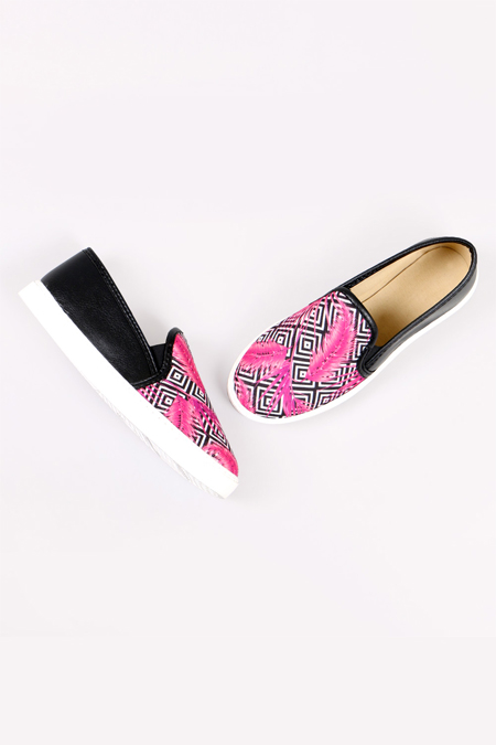 Enbimoda Siyah Tüy Desenli Sneaker Ayakkabı