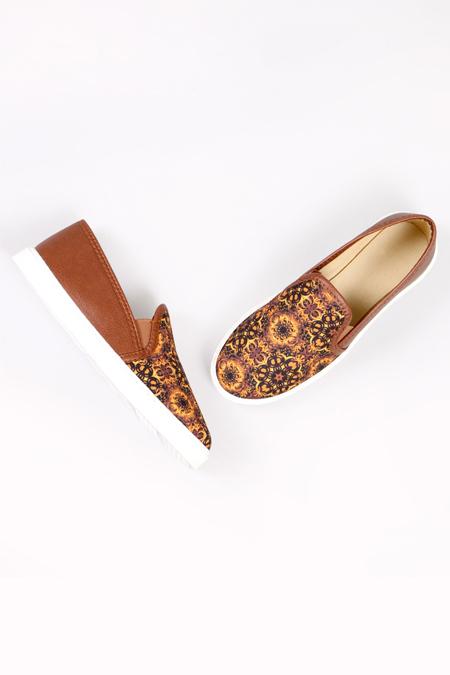 Enbimoda Taba Etnik Desenli Sneaker Ayakkabı