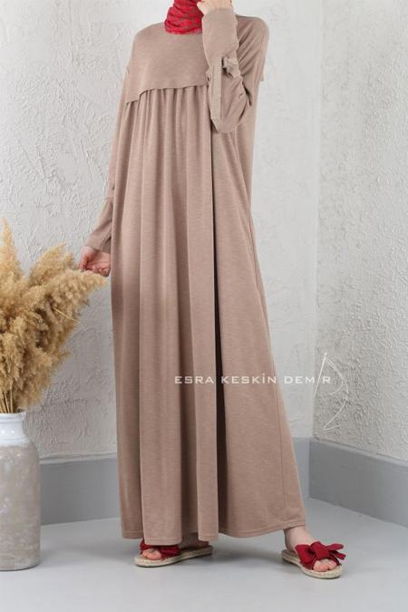 Esra Keskin Demir Camel Bambu Büzgülü Elbise