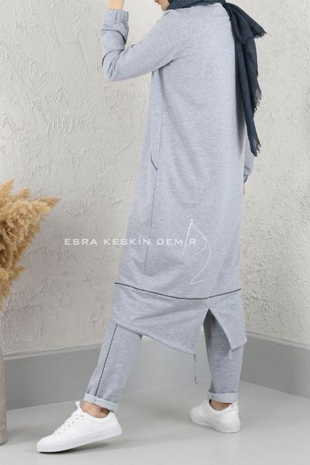 Esra Keskin Demir Gri Cep Detaylı Basic Tunik
