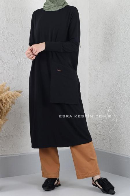 Esra Keskin Demir Siyah Cep Detaylı Basic Tunik