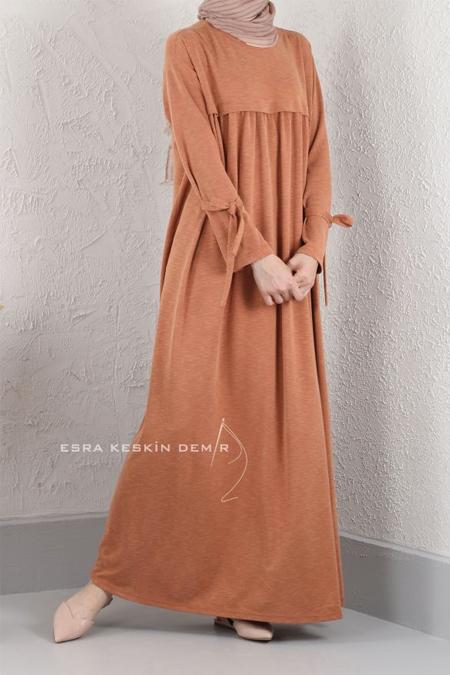 Esra Keskin Demir Somon Bambu Büzgülü Elbise
