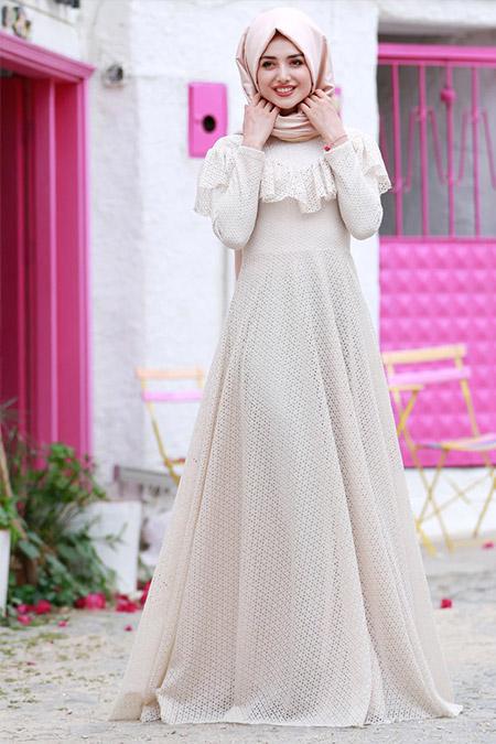 Gamze Özkul Ekru Vintage Dantel Elbise