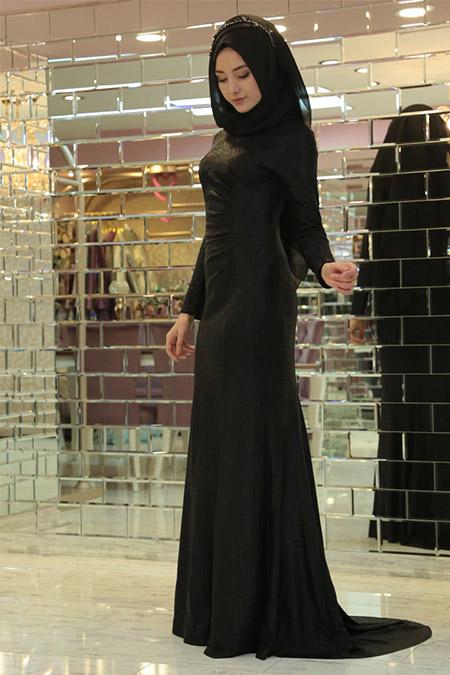 Gamze Özkul Siyah Drape Balık Abiye Elbise