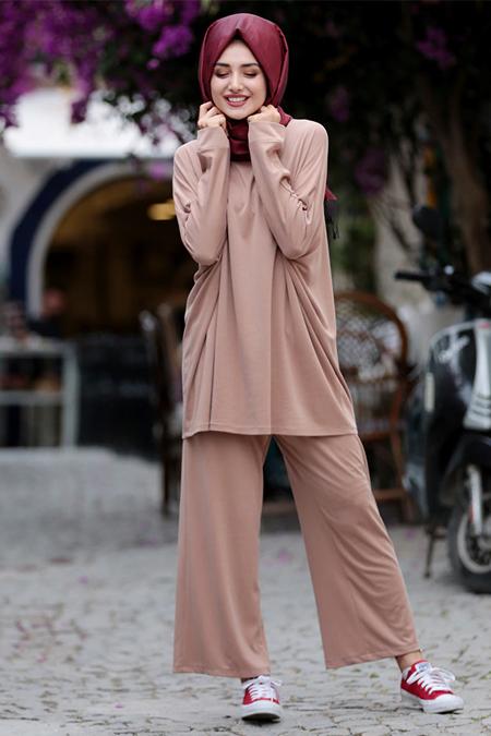 Gamze Özkul Kahve Basic Tunik & Pantolon İkili Takım